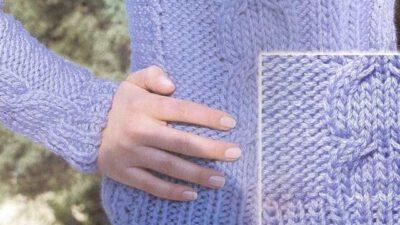 Mavi Ters Saç Örgüsü Bayan Kazak Modeli