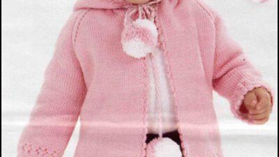 Ponponlu Kapüşonlu Kız Çocuk Hırkası
