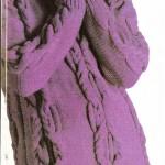 Saç Örgülü Bayan Mor Dağ Kazağı Örneği