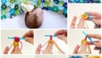 Tığ İle Çiçek Motifli Bebek Battaniye