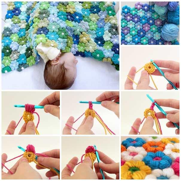 Tığ İle Çiçek Motifli Bebek Battaniye yapışlışı