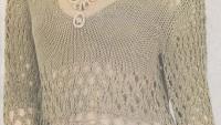 V yakali halka motifli bluz