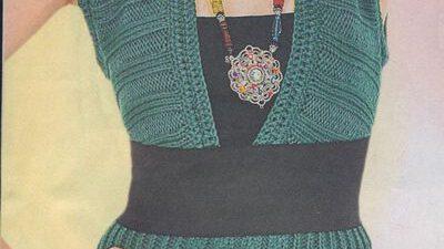 V Yakalı Kemerli Yeşil Örgü Elbise