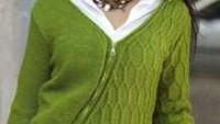 Yarısı Modelli Yarısı Düz Yeşil Bayan Hırka