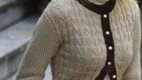 Bej ve Kahverengi Uzun Kollu Bayan Hırka