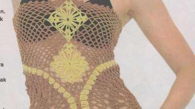 Boyundan Baglamalı Tığ  işi elbise