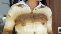 Cepli Kahverengi Krem Rengi Yakalı Örgü Bluz