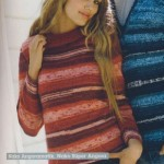 Çizgili Renkli Bayan Kazak