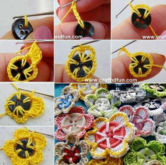 düğmelerle çiçek motifi