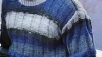 Gri Mavi Çizgili Uzun Kollu Erkek Kazağı