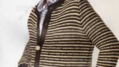 Krem Rengi Kahverengi Çizgili Düğmeli Erkek Hırkası