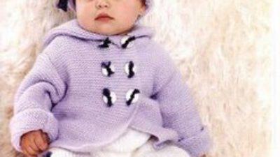 Lila Kapşonlu Bebek Hırkası (Anlatımlı)