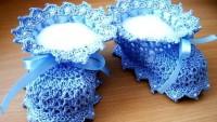 Örgü Mavi Kız Bebek Patiği