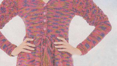 Uzun Kollu Bağcıklı Elbise